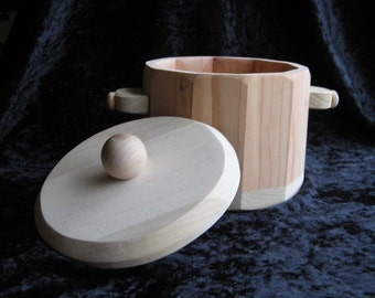 Toy All Wood Stew Pot With Lid Just Right Size