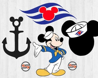 Disney Cruise Svg Dxf Mickey Mouse Sailor Ear Png Minnie