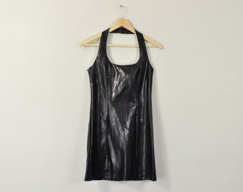 Pleather Halter Dress, Black Faux Leather Dress, Vintage 90s Dress, 90s Party Dress, Bodycon Club Dress, 90s Mini Dress, Halter Top Dress