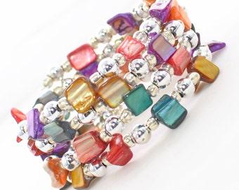 Multicolor Shell Wrap Around Bracelet Cuff Sparking Carnival - Memory Wire Bracelet - Colorful Bracelet - Gift for Her - Beaded Bracelet