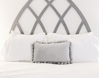 Large Pointed Arch Headboard Wood Cut Out Magnolia Style