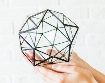 Difficult shaped terrarium Pentakisdodecahedron 3 sizes. Tiffany glass container