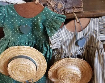 Two Unique Doll Dresses/Farmhouse Decor/Wall Art/Kids Room