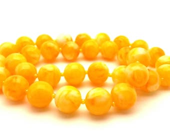 Amber Necklace Pressed Man-Made Resin Color Orange Yellow Egg Yolk Round Beaded Women Long 17.0""