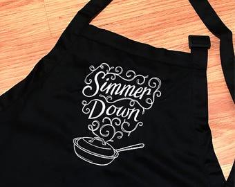 Black womens apron, choose thread color, simmer down apron, black custom apron, funny apron, funny gifts, kitchen decor, kitchen apron