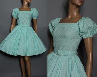 Vintage //1950s Style// Dress //Blue// Cotton //Rockabilly //Polka Dots//Garden Party Dress// Full Circle Dress// 50s Dress