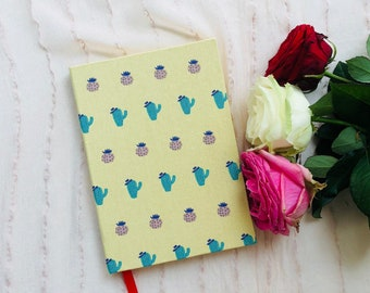 Journal,Handmade,Cactus,Yellow,Cute,Diary,BuJo,Bullet Journal,Dot Grid,Original,Unique,Lined Paper,Thick,Hardcover,Stationery,Gift,Beautiful