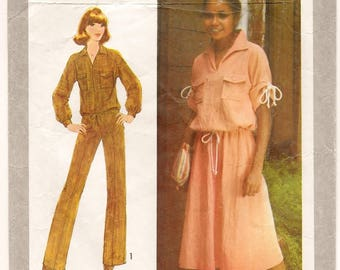 "A Kimono Sleeve, Drawstring Waist Top, Wide Straight Leg Pants & Gathered A-Line Skirt Pattern for Women: Size 12 Bust 34"" • Simplicity 8521"