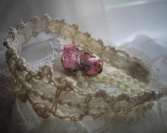 Featured At Martha Stewart Wedding Party Cream Tea Stained Thread Crochet Vintage Shabby Chic Wedding Choker handmade by handcraftusa
