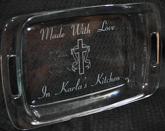 Christian Gift ~ Gift For Mom ~ Gift For Grandma ~ Engraved Baking Pan ~ Personalized Gift ~ Cross Gifts ~ Gift For Friend ~ Christmas Gifts