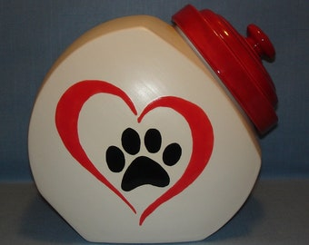 Ceramic Country Store Style Cookie Jar with Paw Print in Heart, Treat Jar, Matte White, Red