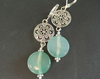 Pearl Earrings round puck agate color 15 mm green jade in an antique silver tone metal connector