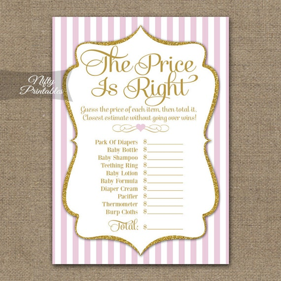 The Price Is Right Baby Shower Game Pink & Gold Price Is