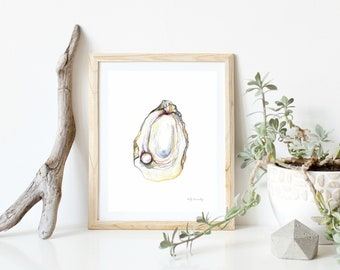 Oyster with rose pearl, Seashells,  Beach, watercolor print, wall art