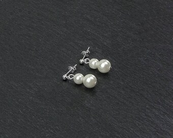 AURELIA bridal earrings with white ivory or cream Swarovski pearls, silver plated leverback earwires