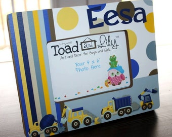 Construction Trucks Boys Personalized Photo Picture Frame for Kids Bedroom Baby Nursery PF0076