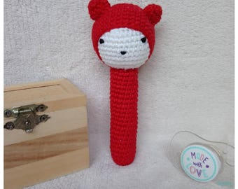 Toy rattle is hand crocheted