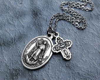 Saint Raphael Necklace / Archangel Raphael Necklace / St Raphael Necklace / Get Well Gift / Healing Necklace /