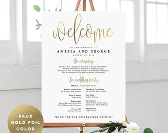 Faux Gold Foil Wedding Program Sign Poster - Modern Wedding Welcome Sign - Editable PDF Template Instant Download - Lovely Calligraphy #LCC