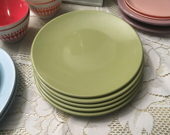 Martha Stewart TV PROPS - set of 5 precidio plastic plates dinnerware moss Olive sage green & Thanksgiving melmac | Etsy