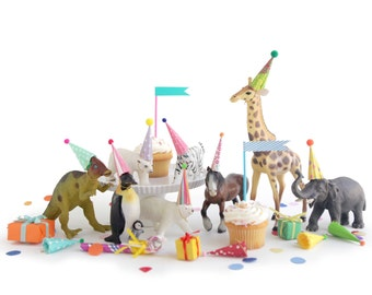 mini party hats for animals and dinosaurs, miniature hats for dolls, plastic animals, circus farm dinosaur party