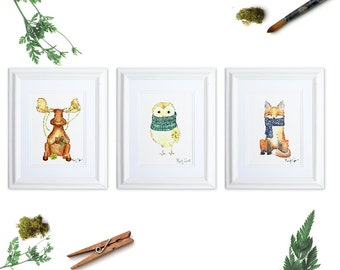 Woodland Animals Art Print Set of 3, Woodland Nursery, Moose Art, Owl Art Print, Fox Watercolor, Animals in Scarves, Knitter Gift
