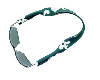 Sunglass Strap, Croakie Style, Sunglass Cord, Sunnies, Eyewear Retainer, Neoprene, Hibiscus, Green