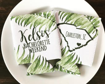 Palm Leaves Party Huggers. Tropical Wedding or Bachelorette Party Favors. Girl's Weekend Family Vacation Beach Favors.