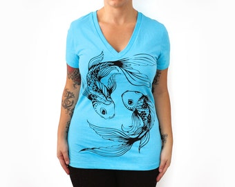 SALE Fitted S or,XL- Blue Deep V-Neck Tee with Koi Fish Screen Print