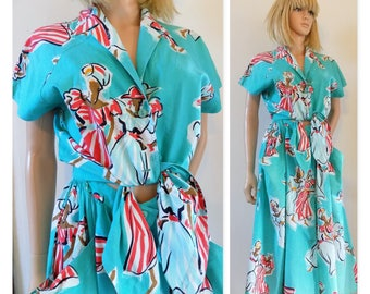 70s summer midi dress tie front French Gerard Darel turquoise patterned summer dress size 38 eu