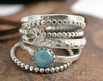 Turquoise Rings Sterling SIlver with Flower Bud and Stone Cabochon - Set of 5