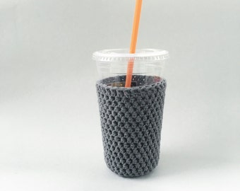 iced medium coffee cozy. gray coffee cozy. crochet cup cozy. Cotton cup sleeve Eco friendly gifts under 15. coffee lover gift.iced cup cozy.
