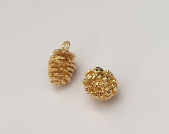 2 pc gold pine cone charm, nature charm, jewelry supplies