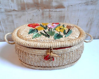 vintage woven straw sewing box 1950