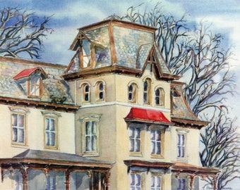 Doylestown Victorian, house, Bucks County, Pennsylvania, original watercolor painting, cat, historic architecture, Pamela Parsons, signed