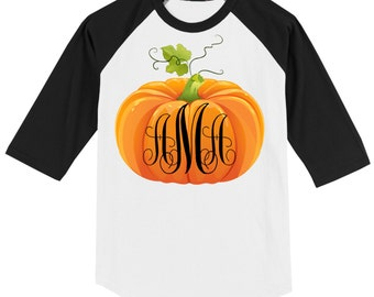 Fall Thanksgiving T Shirt - 3/4 sleeve baseball style raglan with Pumpkin and Monogram - Celebrate Autumn!