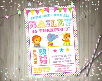 Girl Circus Birthday Party Invitation Invite Pastel Circus Party Carnival Birthday Party Invitation Printable Party
