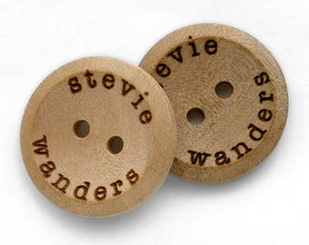 Personalized button plain wooden button 20mm with your own message or shop name 100 pcs