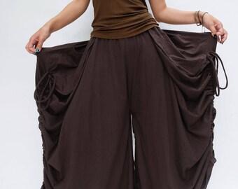 NO.175 Brown Cotton Jersey Mega Pocket Maxi Skirt/Pants, Steampunk Versatility Skirt/Pants