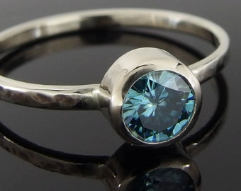 Blue Moissanite and 14k White Gold Ring, Blue Moissanite Ring, 14k White Gold Engagement Ring, Moissanite and White Gold Stack Ring