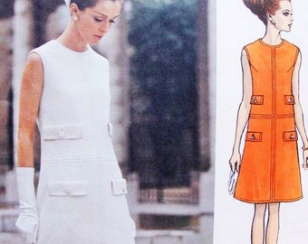 60s ELEGANT Pertegaz Dress Pattern Vogue Couturier Design 1916 Semi fitted A Line Sleeveless Dress Vintage Sewing Pattern UNCUT + Label