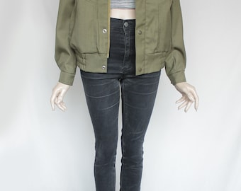 1990s Vintage Army Olive Military Issued Jacket for Men or Women