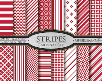 Cardinal Red Stripe Printable Paper Backgrounds - Scrapbooking Paper Pack - Instant Download