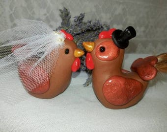 Chicken and Rooster Wedding Cake Topper - Polymer Clay Figurines