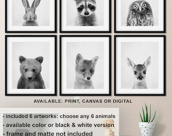 Forest animals Nursery prints, Black and white woodland animals, Baby Forest Animal Pictures, Woodland Animals Nursery Canvas, Best Seller