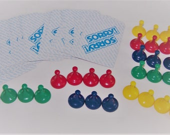SORRY! Board Game 1972 Vintage Tokens and Cards Crafts Jewelry Scrapbooking DIY