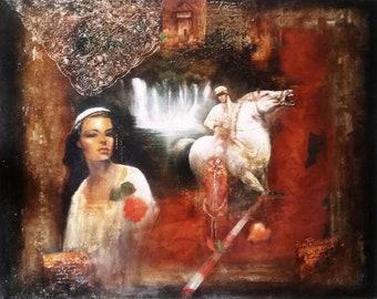 Beautiful Lady Original Oil On Canvas Impressionism Art Painting 117x98 cm Dilber djevojka by Husnija Topić
