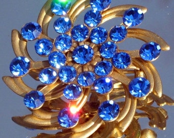 Estate Antique Jewelry Vintage Brooch Pin Crystals Blue Rhinestones Art Deco Wedding Bride Layered Encrusted Flower Ornate Bling Mid Century