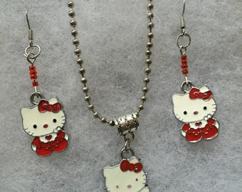 Handmade Hello Kitty necklace and earring set