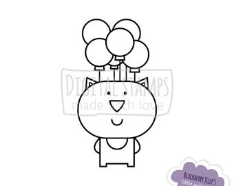 Digital Stamp - Cat with balloons; Birthday; Digi